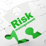 Finance concept: Risk Management on puzzle. Finance concept: Risk Management on White puzzle pieces background, 3d render Stock Images