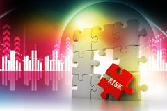 Finance concept: Risk on red puzzle piece. In attractive background Royalty Free Stock Photography