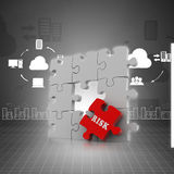 Finance concept: Risk on red puzzle piece. In color background Stock Photos