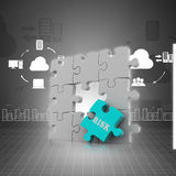 Finance concept: Risk on red puzzle piece. In color background Stock Image