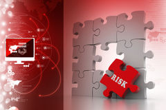 Finance concept: Risk on red puzzle piece. In color background Royalty Free Stock Image