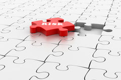 Finance concept: Risk on red puzzle piece. In white background Royalty Free Stock Photography