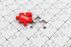 Finance concept: Risk on red puzzle piece. In white background Royalty Free Stock Photos