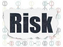 Finance concept: Risk on Torn Paper background. Finance concept: Painted black text Risk on Torn Paper background with Scheme Of Binary Code Stock Images