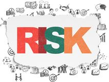 Finance concept: Risk on Torn Paper background. Finance concept: Painted multicolor text Risk on Torn Paper background with  Hand Drawn Business Icons Stock Image