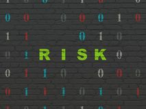 Finance concept: Risk on wall background. Finance concept: Painted green text Risk on Black Brick wall background with Binary Code Stock Photography