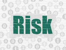 Finance concept: Risk on wall background. Finance concept: Painted green text Risk on White Brick wall background with Scheme Of Binary Code Stock Photos