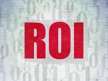 Finance concept: ROI on Digital Data Paper background. Finance concept: Painted red text ROI on Digital Data Paper background with   Binary Code Stock Photo