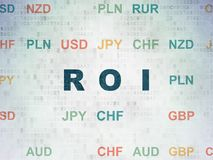 Finance concept: ROI on Digital Data Paper background. Finance concept: Painted blue text ROI on Digital Data Paper background with Currency Stock Photo