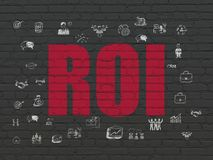 Finance concept: ROI on wall background. Finance concept: Painted red text ROI on Black Brick wall background with  Hand Drawn Business Icons Royalty Free Stock Photography