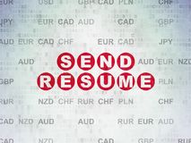Finance concept: Send Resume on Digital Data Paper background. Finance concept: Painted red text Send Resume on Digital Data Paper background with Currency Royalty Free Stock Images