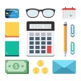 Finance concept  set. Business and finance set: calculator, money, paper, glasses, calendar, pen, credit card, envelope. Concept vector illustration in flat Stock Photos