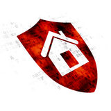 Finance concept: Shield on Digital background. Finance concept: Pixelated red Shield icon on Digital background Royalty Free Stock Images