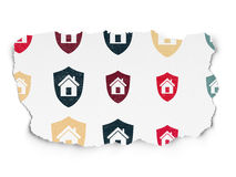 Finance concept: Shield icons on Torn Paper Royalty Free Stock Images