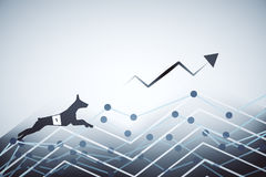 Finance concept. Side view of abstract dog figure running up business charts with arrow. Finance concept. 3D Rendering Royalty Free Stock Photography