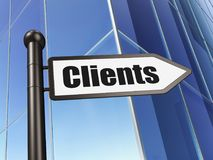 Finance concept: sign Clients on Building background. 3D rendering Royalty Free Stock Photography