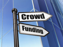 Finance concept: sign Crowd Funding on Building. Background, 3d render Royalty Free Stock Image
