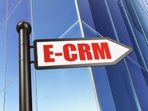 Finance concept: sign E-CRM on Building background. 3D rendering Stock Photography