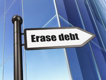 Finance concept: sign Erase Debt on Building background. 3D rendering Royalty Free Stock Images