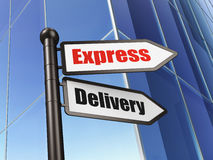 Finance concept: sign Express Delivery on Building. Background, 3d render Stock Photos