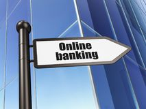 Finance concept: sign Online Banking on Building background Stock Images