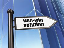 Finance concept: sign Win-win Solution on Building background Royalty Free Stock Photography