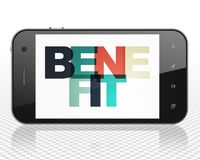 Finance concept: Smartphone with Benefit on  display. Finance concept: Smartphone with Painted multicolor text Benefit on display, 3D rendering Royalty Free Stock Photography