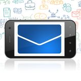 Finance concept: Smartphone with Email on display. Finance concept: Smartphone with  blue Email icon on display,  Hand Drawn Business Icons background, 3D Royalty Free Stock Photography