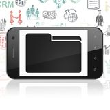 Finance concept: Smartphone with Folder on display. Finance concept: Smartphone with  black Folder icon on display,  Hand Drawn Business Icons background, 3D Royalty Free Stock Images