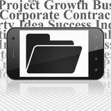 Finance concept: Smartphone with Folder on display. Finance concept: Smartphone with  black Folder icon on display,  Tag Cloud background, 3D rendering Royalty Free Stock Photos