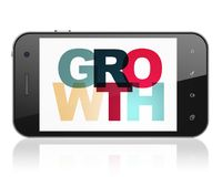 Finance concept: smartphone with growth on  display. Finance concept: smartphone with painted multicolor text growth on display, 3d rendering Stock Image