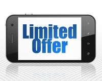Finance concept: smartphone with limited offer on display. Finance concept: Smartphone with blue text Limited Offer on display, 3D rendering Stock Photos