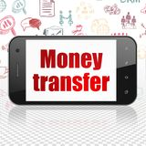Finance concept: Smartphone with Money Transfer on display. Finance concept: Smartphone with  red text Money Transfer on display,  Hand Drawn Business Icons Royalty Free Stock Photos