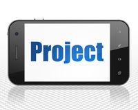 Finance concept: Smartphone with Project on display. Finance concept: Smartphone with blue text Project on display, 3D rendering Royalty Free Stock Images