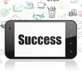 Finance concept: Smartphone with Success on display. Finance concept: Smartphone with  black text Success on display,  Hand Drawn Business Icons background, 3D Stock Photos