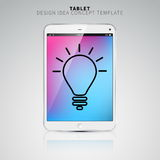 Finance concept: smartphone or tablet with Light Bulb icon on di. Splay Royalty Free Stock Photography
