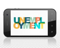 Finance concept: Smartphone with Unemployment on  display. Finance concept: Smartphone with Painted multicolor text Unemployment on display, 3D rendering Royalty Free Stock Photography