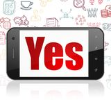 Finance concept: Smartphone with Yes on display. Finance concept: Smartphone with  red text Yes on display,  Hand Drawn Business Icons background, 3D rendering Stock Photo