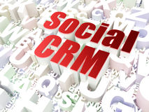 Finance concept: Social CRM on alphabet background. Finance concept: Social CRM on alphabet  background, 3d render Royalty Free Stock Photo