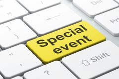 Finance concept: Special Event on computer keyboard background. Finance concept: computer keyboard with word Special Event, selected focus on enter button Royalty Free Stock Photography