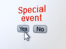 Finance concept: Special Event on digital computer. Finance concept: buttons yes and no with pixelated word Special Event and Arrow cursor on digital computer Stock Photo