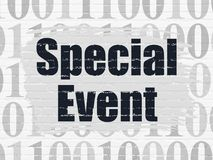 Finance concept: Special Event on wall background. Finance concept: Painted black text Special Event on White Brick wall background with  Binary Code Royalty Free Stock Image