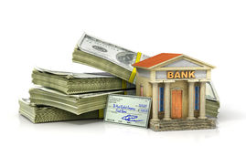 Finance concept. Stack of money with bank building. 3d illustration Royalty Free Stock Images