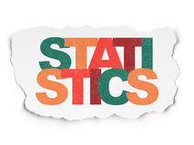 Finance concept: Statistics on Torn Paper. Finance concept: Painted multicolor text Statistics on Torn Paper background, 3d render Royalty Free Stock Images