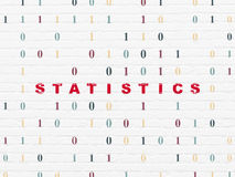 Finance concept: Statistics on wall background. Finance concept: Painted red text Statistics on White Brick wall background with Binary Code, 3d render Royalty Free Stock Images
