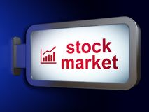 Finance concept: Stock Market and Growth Graph on billboard background. Finance concept: Stock Market and Growth Graph on advertising billboard background, 3D Royalty Free Stock Photos