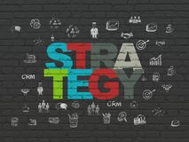 Finance concept: Strategy on wall background. Finance concept: Painted multicolor text Strategy on Black Brick wall background with  Hand Drawn Business Icons Stock Photos