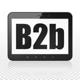 Finance concept: Tablet Computer with B2b on display. Finance concept: Tablet Computer with  black text B2b on display,  Binary Code background, 3D rendering Royalty Free Stock Photo