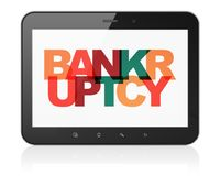 Finance concept: Tablet Computer with Bankruptcy on  display. Finance concept: Tablet Computer with Painted multicolor text Bankruptcy on display, 3D rendering Royalty Free Stock Photo