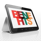 Finance concept: Tablet Computer with Benefits on  display. Finance concept: Tablet Computer with Painted multicolor text Benefits on display, 3D rendering Royalty Free Stock Photos